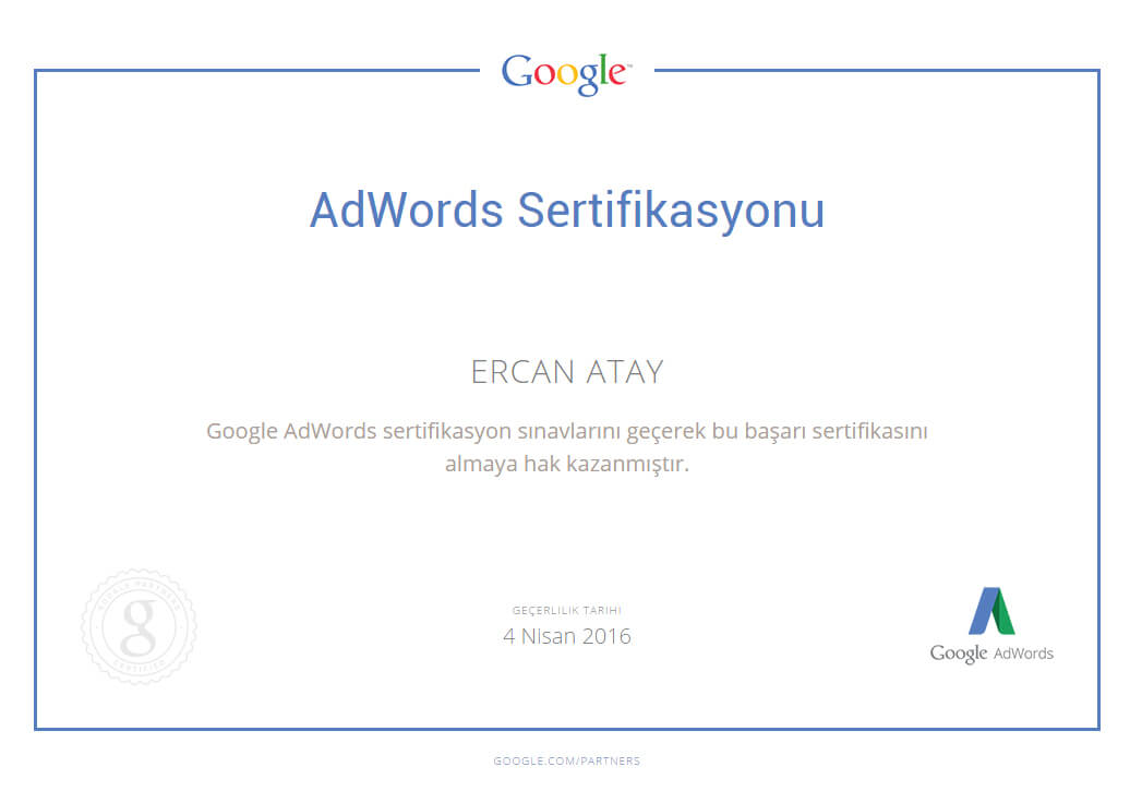 Google AdWords certified - AdWords Fundamentals - Search Advertising - Display Advertising