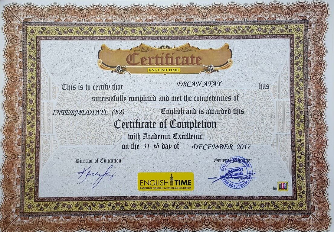 Certificate of Completion - Intermediate (B2)  - English Time