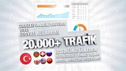 Sizin için istediğiniz ülkeden ve istediğiniz arama motorundan veya sosyal ağlardan 20.000+ trafik gönderirim.